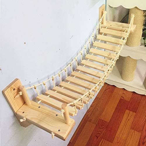 Dslxa Roped Cat Brücke Klettergerüst, an der Wand Holz Cat Tree House Bed, Sisal Kratz Jumping-Brücken-Haustier-Möbel, (1m)