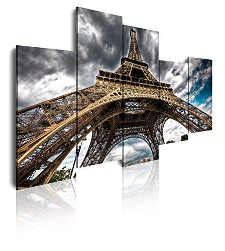 DekoArte 42 - Cuadros Modernos Impresión de Imagen Artística Digitalizada | Lienzo Decorativo para Tu Salón o Dormitorio | Estilo Torre Eiffel Ciudad París Vista Desde Abajo | 5 Piezas 150x100cm