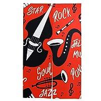 SUDISSKM 間仕切りカーテン、ジャズ音楽のシームレスパターン楽器、北欧風 綿麻 リビングルーム・ポーチ・洗面所・台所用 カーテン 半遮光 間仕切り取付簡単 ホーム装飾86cm×143cm