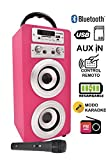 DYNASONIC - Altavoz Karaoke Bluetooth 10W, Color Rosa | Reproductor mp3 inalámbrico portátil,...