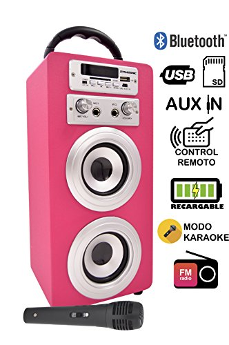DYNASONIC   Bluetooth-Lautsprecher für Karaoke-Partys, 10 W   tragbarer kabelloser MP3-Player, USB-Anschluss und MicroSD-Kartensteckplatz, UKW-Radio-Tuner, Pink