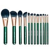 Mosumi Juego de 10 brochas de maquillaje profesional para colorete, base, cejas, nariz, labios, polvo, cosméticos con una bolsa para cepillos (verde oscuro)