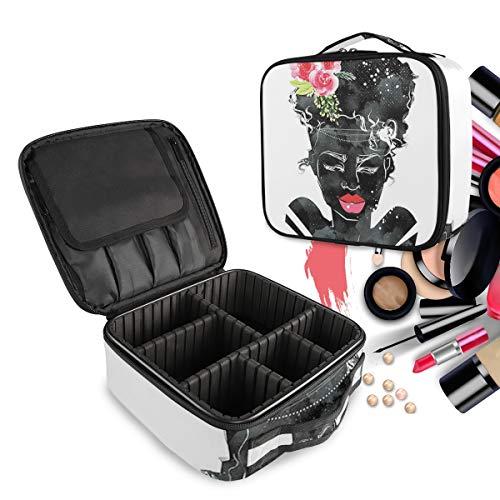 Les Gens De L'Art Noir Rose Rose Trousse Sac Cosmétique Organisateur de Maquillage Pochette Sacs Cas avec Cloisons Amovibles pour Voyage Les Femmes Filles