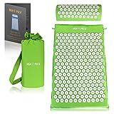 High Pulse® Tappetino Agopressione + 5 anelli e poster - Tappeto e cuscino per agopressione stimola la circolazione sanguigna e allevia la tensione (Verde)