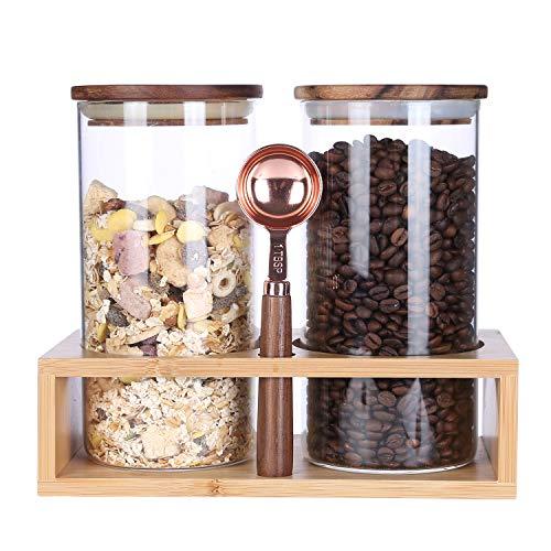 KKC kaffeebehälter Glas Luftdicht - Kaffeedose Glas - Kaffeebohnen Behälter - Glasbehälter mit Holzdeckel und Löffel für Kaffeebohnen,Nüsse,Zuckerwürfel -1150ML im 2er Set