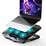 AMERIERGO Laptop Cooling Pad, Adjustable Laptop Cooler Stand with 6 Quiet Blue LED Fans, Laptop Cooling Fan for 15.6-17.3 Inch Gaming Laptop, Computer Cooling Pad with Dual USB Ports & 1 Cable
