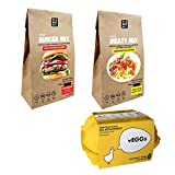 Multi-Packs  Sustitutos de Carne y Sustitutos de Huevo : vEGGs Sustituto de Huevo | Mezcla de Carne Vegana | Mezcla de Hamburguesas Veganas (PACK DE 3)
