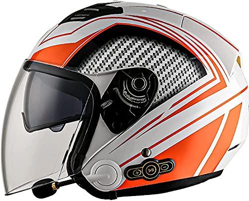Casco De Motocicleta Con Bluetooth De Cara Abierta, Visores Dobles 3/4 Medios Cascos Micrófono De Altavoz Incorporado Para Casco De Respuesta Automática Certificación ECE A,XXL