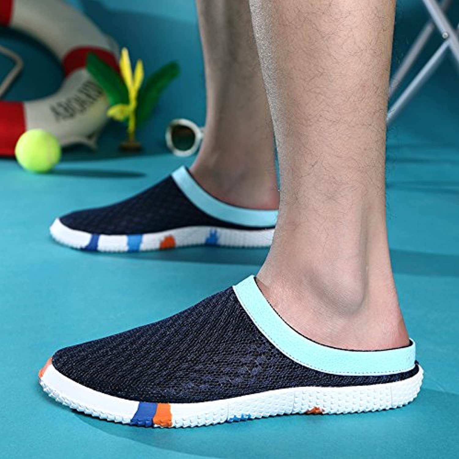 Summer sandals comfortable breathable leisure cool slippers beach has a nonslip sandals male tide 39 dark bluee
