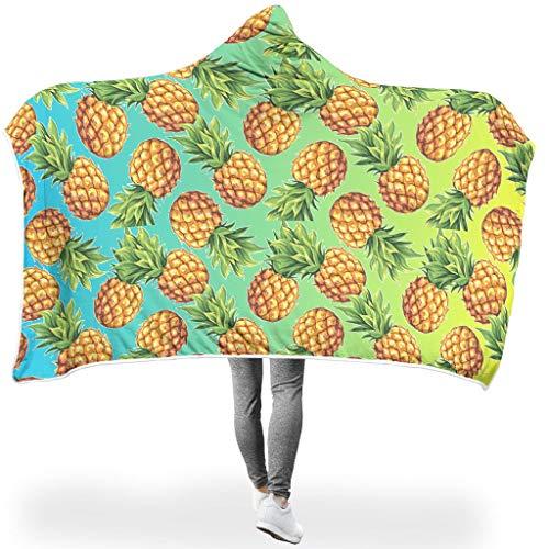 NiTIAN Pineapple SerieTapisserie Hooded Blanket Pineapple Bequemes Soft-Mantel Schlafdecke Wohndecke TV Werfen Decke Für Erwachsene White 150x200cm