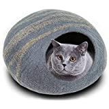 Philojoy Handmade 100% Wool Cat Cave Bed, Covered and Comfortable, Perfect for Cats, Kittens, Premium Felt Cat Bed Cave (Gray)