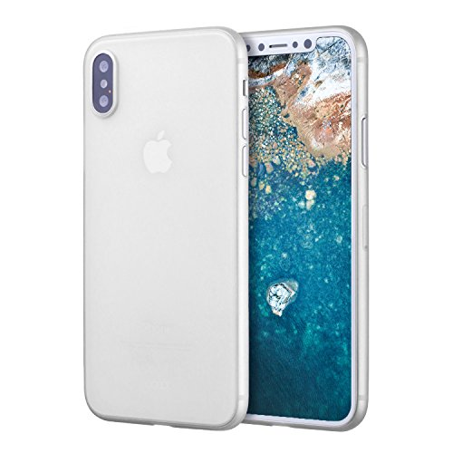 doupi UltraSlim Custodia per iPhone X (iPhone 10) [ Carica Senza Fili supportata ], Satinato fine Piuma Facile Mat Semi Trasparente Cover, Bianco