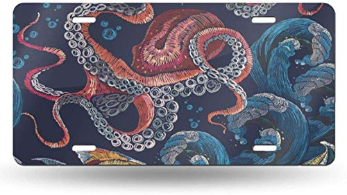 Embroidery Octopus Sea Wave and Tropical Fishes Fashionable Design Classical Red Underwater Pattern License Plate Frame for Front Car,Metal License Plate Cover,License Plate Vanity Tag for Women