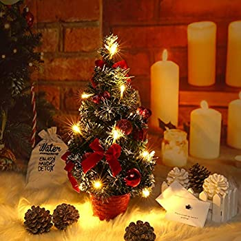 Mrinb Small Christmas Tree With Lights Mini Desktop Decoration Tree For Home Office Shopping Bar Red Amazon Co Uk Kitchen Home