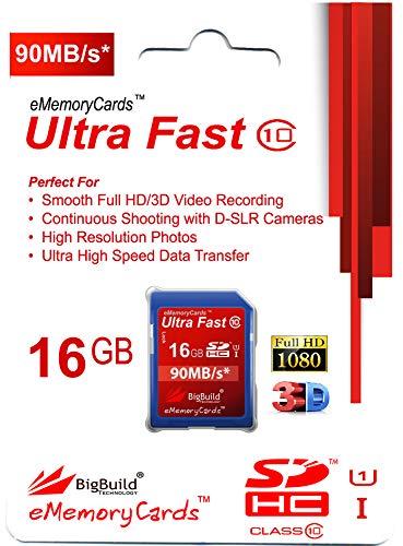 eMemoryCards 16GB Ultra schnelle SD SDHC Class 10 Speicher Karte für Zoom Q3 Caméscope