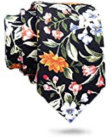 Skinny-Floral Ties for Men's Slim Cotton Neckties for Men's Floral Printed with a Gift Box