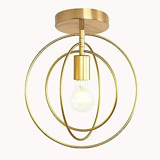 Plafonnier Rétro Industrielle en Métal,DIY Lustre Fer Doré Boules 360°Régble Lampe Suspension Luminaire, Diamètre 32cm (Am...