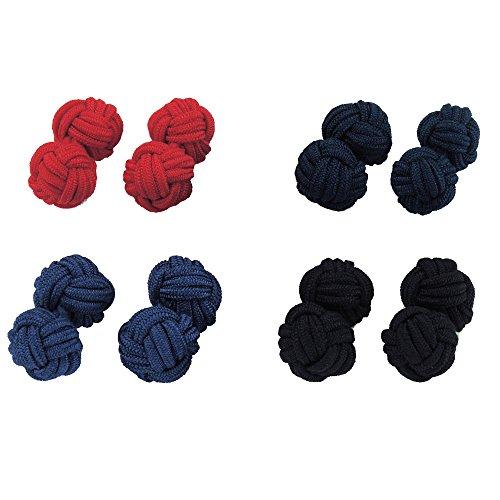 CUFF IT 4 Paare Seidenknoten Manschettenknöpfe Blau, Marineblau, Schwarz, Rot Farbe Manschettenknöpfe für Hemden Hochzeit mit Geschenk-Box