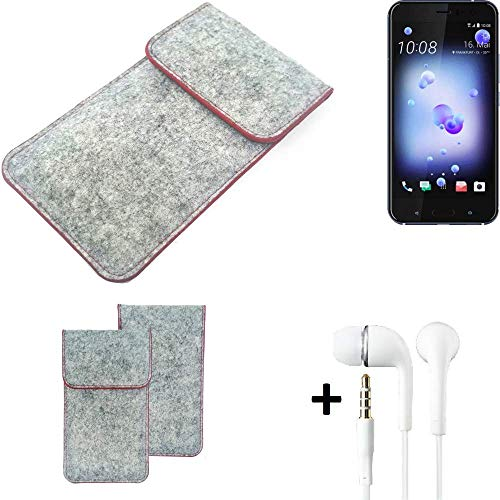 K-S-Trade Handy Schutz Hülle Für HTC U11 Dual-SIM Schutzhülle Handyhülle Filztasche Pouch Tasche Hülle Sleeve Filzhülle Hellgrau Roter Rand + Kopfhörer