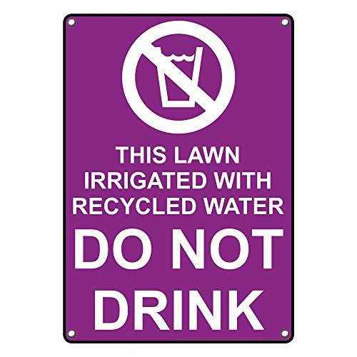 Weatherproof Plastic Vertical This Lawn Irrigated with Sign with English Text and Symbol