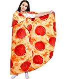 Pizza Blanket 60in Double Sided, Giant Round Novelty Pepperoni Wrap Throws Soft Cozy Flannel Realistic Food Plush Towels Funny Gifts for Kids Adults Family (Pizza, 60in)