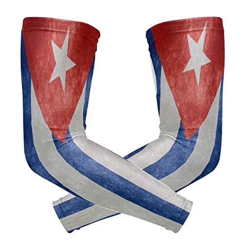 hdyefe Bandera de Cuba 1 par Compresión Deportiva Manga del Brazo Enfriamiento Protección Solar para Béisbol Baloncesto Fútbol Niños Jóvenes Niñas Niños Hombres Mujeres