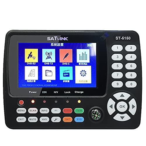 Voupuoda ST-5150 DVB-   T2   C COMBO HD Buscador de señal de TV por satélite Medidor de señal de mano digital Buscador de satélite H.265 HEVC MPEG-4 4.3 pulgadas TFT LCD Enchufe de EE. UU.