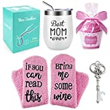 Best Mom Ever Wine Tumbler Cupcake Wine Socks,Stainless Steel Double Insulated Stemless Wine Glass with Lid and Straw Key Bottle Opener, Funny Wine Tumbler for Women