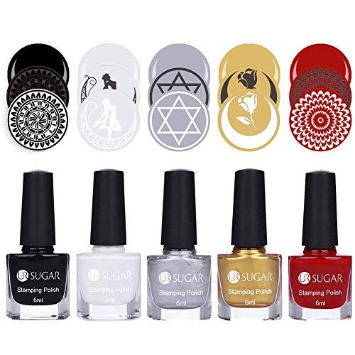 UR Sucre 6 ml Vernis à ongles stamping Lot Nouvellement Sweet Style coloré Nail Art Plaque d'impression Peel Off Vernis à ongles manucure kit de 5 bouteilles