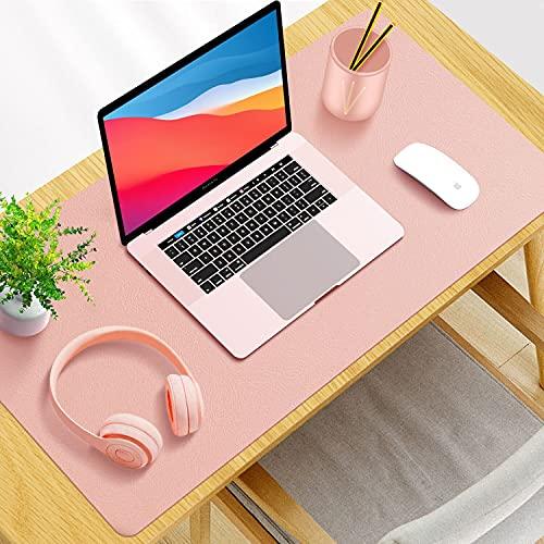SYOSIN Schreibtischunterlage, 80 x 40 cm PU-Leder Multifunktionale Schreibtischmatte, Mauspad, rutschfest, Wasserdichter Schreibtisch-Schreibblock für Büro und Zuhause (Rosa)