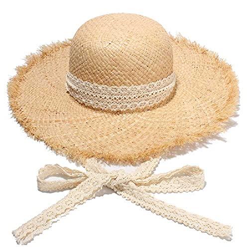 N\C Strohhut mit großen Traufen, Strandhut mit Fransen, Spitze, Sonnenschutz, M/Spitze