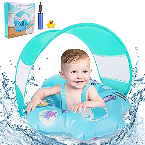 Baby Swimming Ring Floats with Safety Seat, Inflatable Baby Swim Float with Removable Sun Protection Canopy Toddler Pool Float Ring for Age of 6-18 Months - Blue