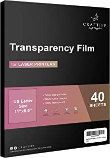Ohp Clear Printable Transparency Film 8.5 x 11 Inches for Overhead Projectors, for Laser Printers - 40 Sheets
