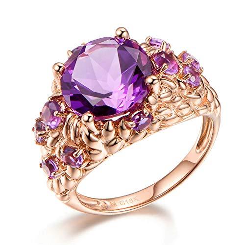 Blisfille Anillos Compromiso Diamante Joyería Anillo 18 Kilates de Amatista Anillo de Oro Rosa,Talla de 8 (Tamaño Personalizable)