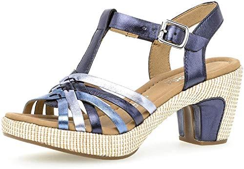 Gabor Damen Sandalen, Frauen Sandaletten,Comfort-Mehrweite,Übergrößen, Sommerschuhe Absatzschuhe hoher Absatz Lady,Pazifik k.(ba.st),37.5 EU / 4.5 UK