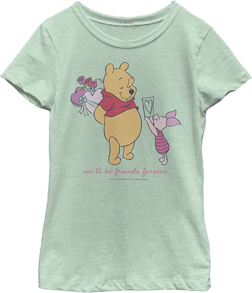 Disney Winnie The Pooh Friends Forever Girl's Heather Crew Tee