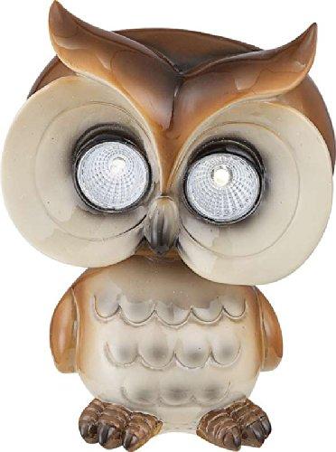 LED Solar Leuchte Garten Solarlampe Außen Lampe Eule (Material: Kunststoff beige/braun, Glas klar, Größe ca.: Länge 12,5 cm x Breite 10 cm x Höhe 15,8 cm, inkl. Akku und Leuchtmittel)