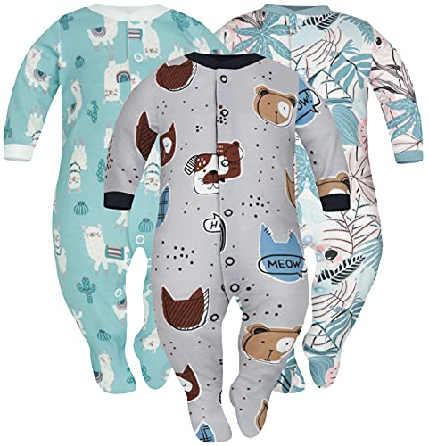 Sibinulo Niño Niña Peleles Mamelucos, Pijama Tamaños 3-6 Meses, Pack de 3Jungla del Mar, Lama, Mascotas 68