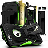 CASE Force Cell Phone Case Compatible with iPhone 6/6S Plus [Velocity Series] for Girls Women Men, Kickstand Heavy Duty Military Grade Drop Protection Holster with Belt Clip (Black/Green)
