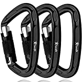 Favofit Auto Locking Rock Climbing Carabiner Clips, 3 Pack, 25KN (5620 lbs) Heavy Duty Caribeaners for Rappelling Swing & Gym etc,...