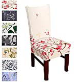 Argstar 2 Pack Chair Covers, Stretch Armless Chair Slipcover for Dining Room Seat Cushion, Spandex Kitchen Parson Chair Protector Cover, Removable & Washable, Pink Spring Flower Design X_01