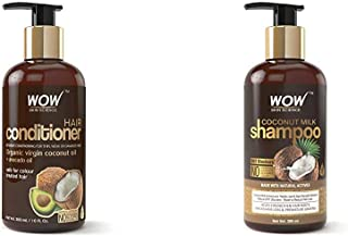 Wow Coconut & Avocado Oil No Parabens & Sulphate Hair Conditioner, 300Ml And Wow Coconut Milk Shampoo, 300Ml