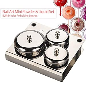 3PCS Professional Stainless Steel Acrylic Nail Tips Cup Dappen Dish Liquid Powder Holder Container Nail Art Equipment Tools (Silver)