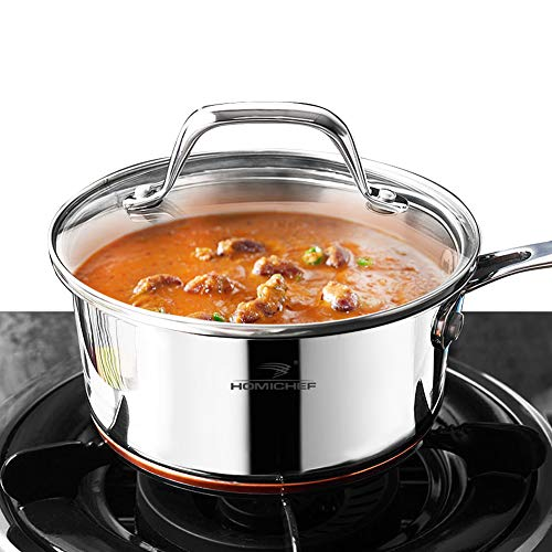 HOMI CHEF Mirror Polished Copper Band Nickel Free Stainless Steel 1 QT Saucepan with Glass Lid (No Toxic Non Stick Coating, 6.5 Inch) - Small Saucepan Induction Pan with Lid - Non Toxic Cookware