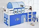 Lilokids Spielbett Jelle Trecker, Hochbett mit Vorhang Kinderbett, Holz, blau, 208 x 98 x 113 cm