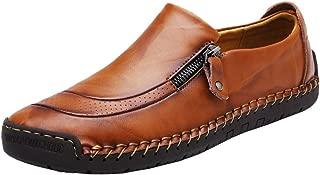 JINGJING Men Loafers Casual Zipper Non-Slip Soft Comfortable Slip On Loafers