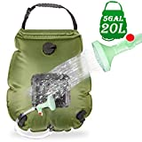 HiVehicle Solar Shower Camping Shower Bag - 5Gallons/20L Portable Solar Heating Bag Hiking Shower with On/Off Switch Picnic Shower Header for Outdoor Travel Swimming Beach Hiking Cycling