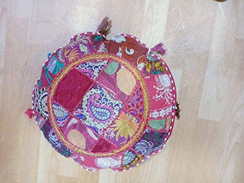 IINFINIZE Indian handgefertigt Vintage Stickerei rund Boden Kissen Bohemian Patchwork Pouf osmanischen indischen Vintage Fuß-Hocker Sitzsack, Kissenbezug Home Decor, Wohnraum, Ottoman, Kissen 45,7cm