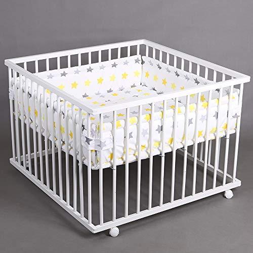 Laufgitter Laufstall Babylaufstall 100x100cm Baby Krabbelgitter inkl. Stoffeinlage 49266-D01