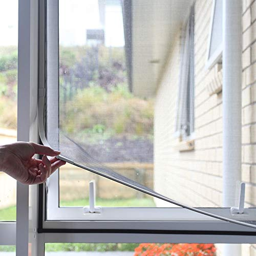 "Adjustable DIY Magnetic Window Screen Max 55""H x 36""W Fits Any Size Smaller with White Frame Fiberglass Mesh"